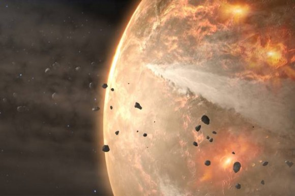 4.5 billion years ago, during the Hadean Eon, Earth was bombarded regularly by meteorites. Credit: NASA