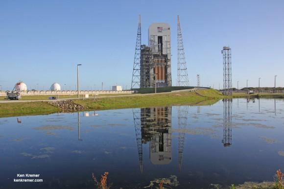 NASA's first Orion spacecraft atop Delta 4 Heavy Booster at Space Launch Complex 37 (SLC-37) at Cape Canaveral Air Force Station in Florida one day prior to launch set for Dec. 4, 2014.   Credit: Ken Kremer - kenkremer.com