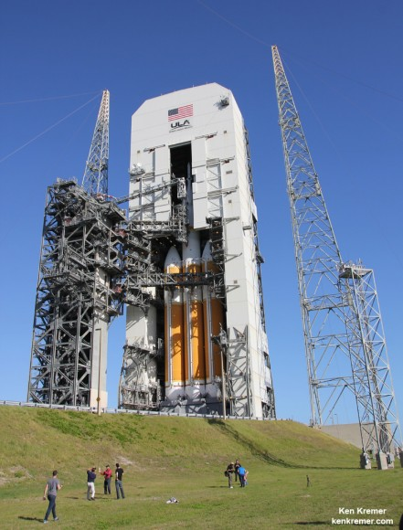 Orion spacecraft atop Delta 4 Heavy rocket Booster at Space Launch Complex 37 (SLC-37) at Cape Canaveral Air Force Station in Florida one day prior to launch set for Dec. 4, 2014.   Credit: Ken Kremer - kenkremer.com