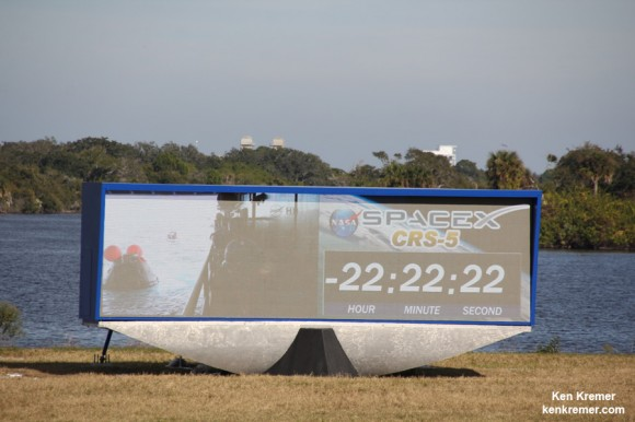 New countdown clock at NASA's Kennedy Space Center displays SpaceX Falcon 9 CRS-5 mission and recent Orion ocean recovery at the Press Site viewing area on Dec. 18, 2014. Credit: Ken Kremer – kenkremer.com