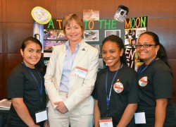 Maria Zuber with students. Credit: NASA