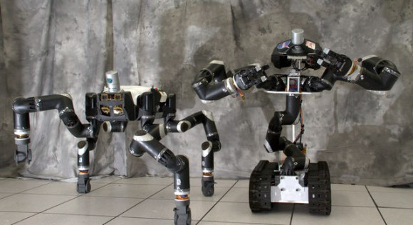 RoboSimian and Surrogate are robots that were designed and built at NASA's Jet Propulsion Laboratory in Pasadena, California. Credit: JPL-Caltech