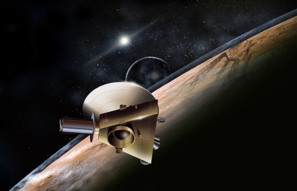Artist's conception of the New Horizons spacecraft at Pluto. Credit: Johns Hopkins University Applied Physics Laboratory/Southwest Research Institute (JHUAPL/SwRI)