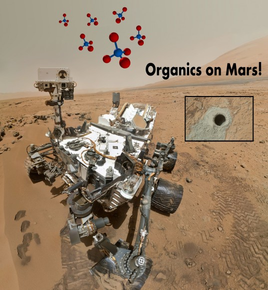 After a 20 month trek across Mars and careful analysis of data, NASA scientists have announced two separate detection of organics - in the surface and the air of Mars. (Photo Credit: NASA/JPL, Illustration - T. Reyes)
