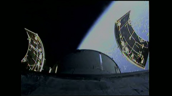 Orion Service Module fairing separation. Credit: NASA TV