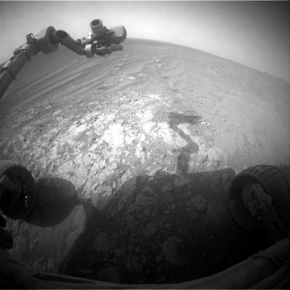 Opportunity's robotic arm is cast in shadow as the Mars rover explores the rim of Endeavour Crater on Sol 3,854 (Nov. 26, 2014). Credit: NASA/JPL-Caltech