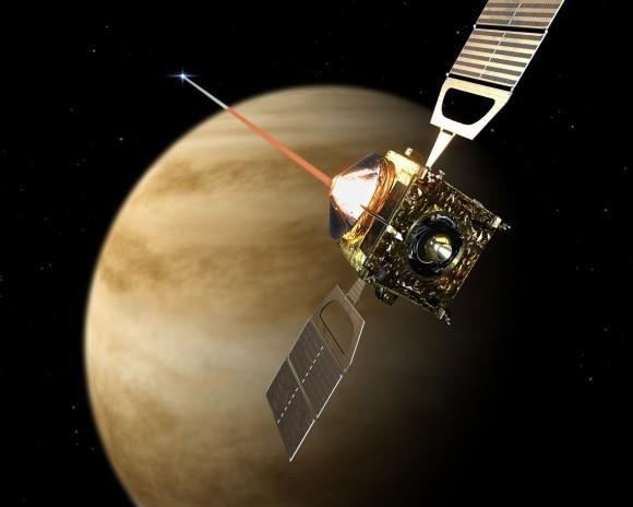 Artist's impression of Venus Express entering orbit in 2006. Credit: ESA - AOES Medialab