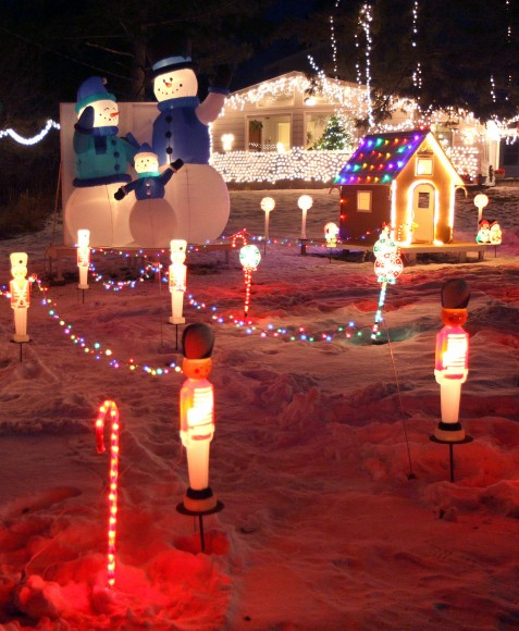 Christmas lighting displays like this one near Duluth, Minn. U.S. are visible from outer space. Credit: Bob King
