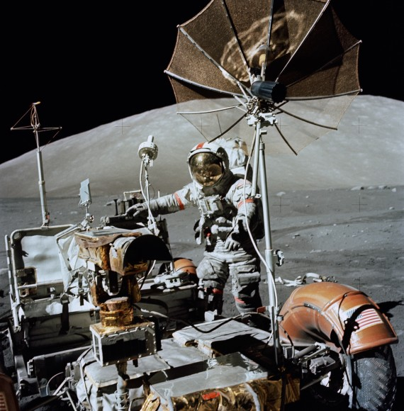Apollo 17 commander Eugene Cernan with the lunar rover in December 1972, in the moon's Taurus-Littrow valley. Credit: NASA