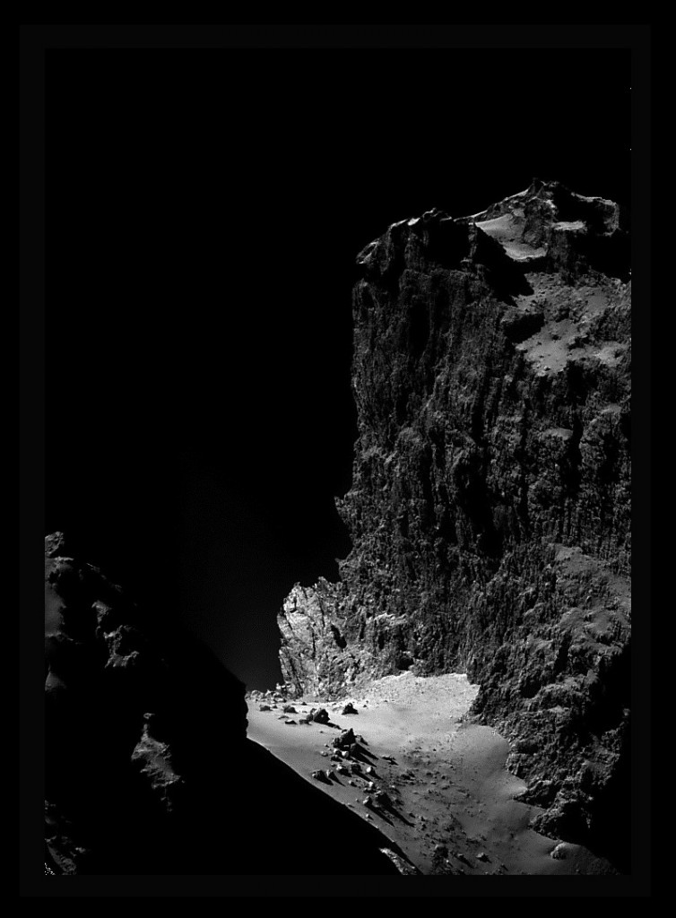 The Cliffs of Churyumov-Gerasimenko: an enhanced and procosessed crop of an image from Rosetta's navcam. Credits: ESA/Rosetta/NAVCAM, processing by Stuart Atkinson.