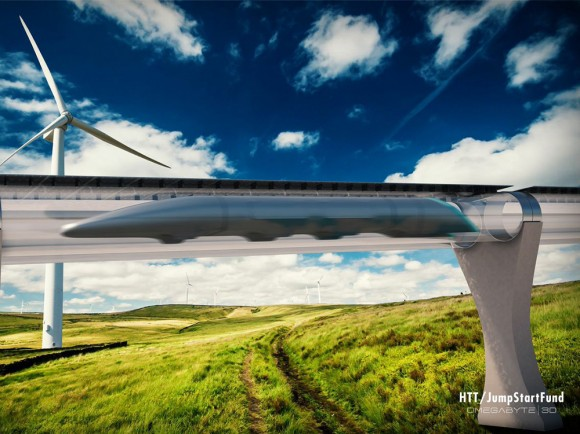 Concept art of what a completed Hyperloop would look like amidst the countryside. Credit: HTT/JumpStartFund