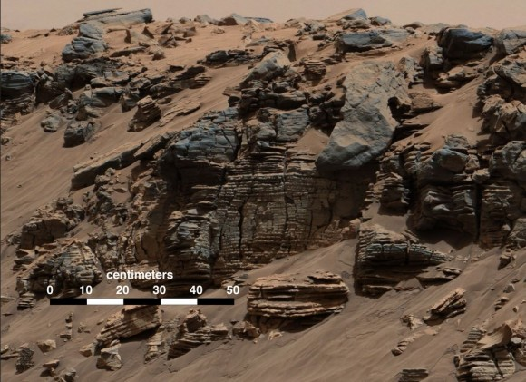 This evenly layered rock photographed by the Mast Camera (Mastcam) on NASA's Curiosity Mars Rover on Aug. 7, 2014, shows a pattern typical of a lake-floor sedimentary deposit not far from where flowing water entered a lake. Credit:  NASA/JPL-Caltech/MSSS.