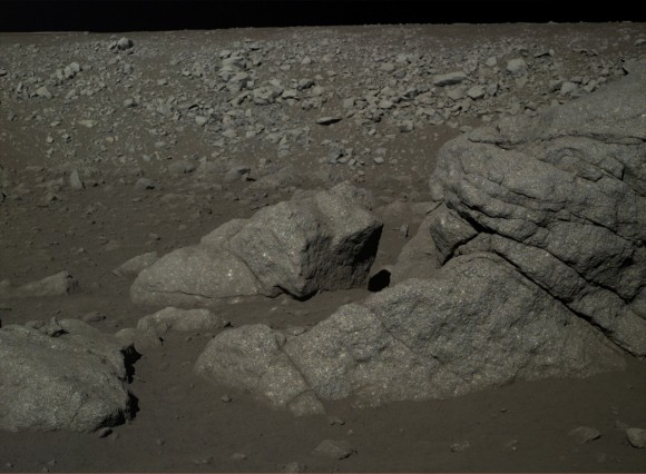 The Chang'e 3 mission's view of lunar rocks. The mission began in December 2013. Credit: Chinese Academy of Sciences