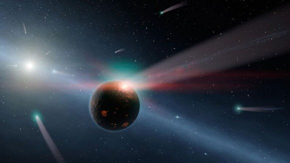 Illustration of a rocky planet being bombarded by comets. Earth may have appeared similarly early in its development. WHile indeed such comet impacts did occur, new in situ observations by Rosetta of comet 67P indicate that comets were likely not the primary source of water delivered to the Earth.(Image credit: NASA/JPL-Caltech)