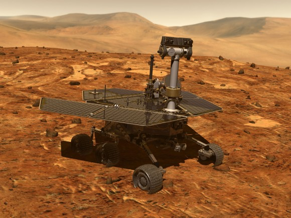Artist's conception of a Mars Exploration Rover, which included Opportunity and Spirit. Credit: NASA