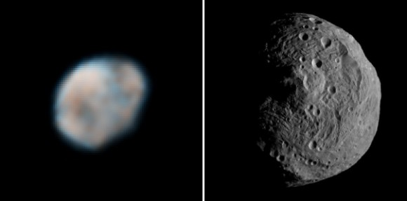 Vesta seen from the Earth-orbit based Hubble Space Telescope in 2007 (left) and up close with the Dawn spacecraft in 2011. Hubble Credit: NASA, ESA, and L. McFadden (University of Maryland). Dawn Credit: NASA/JPL-Caltech/UCLA/MPS/DLR/IDA. Photo Combination: Elizabeth Howell
