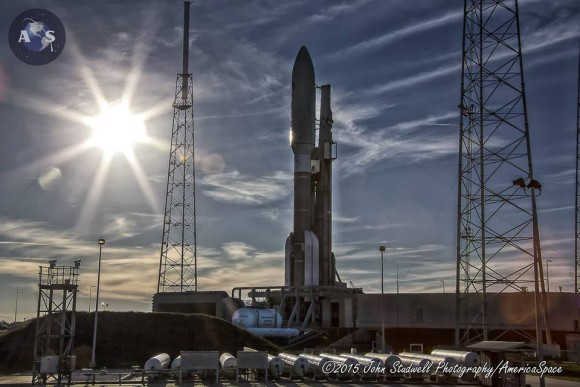 MUOS-3 communications satellite for the US Navy awaits launch atop an Atlas V rocket at pad 41 at Cape Canaveral Air Force Station, FL on Jan. 20, 2015. Credit: John Studwell/AmericaSpace