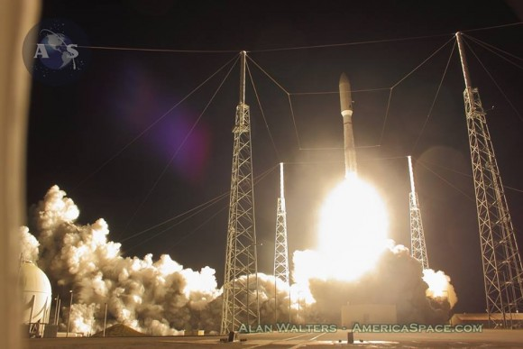 Blastoff of ULA  Atlas V rocket lofting MUOS-3 to orbit for the US Navy from Space Launch Complex-41 at 8:04 p.m. EST on Jan. 20, 2015. Credit: Alan Walters/AmericaSpace