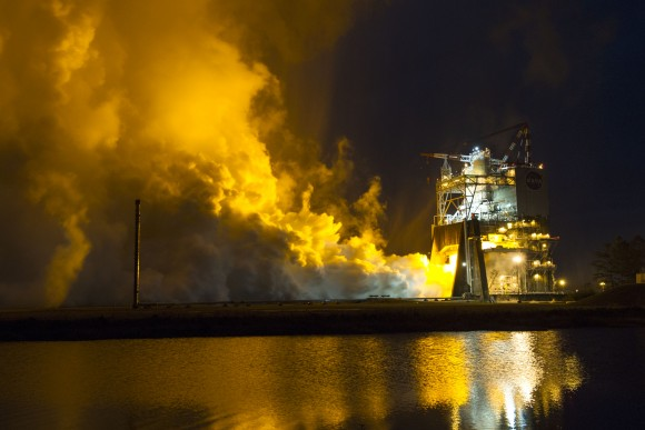 The RS-25 engine fires up for a 500-second test Jan. 9 at NASA's Stennis Space Center near Bay St. Louis, Mississippi.   Credit: NASA