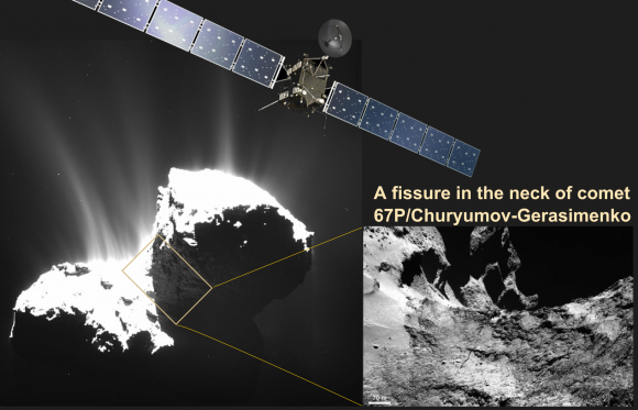 A Fissure spanning over 100 meters across the neck of Rosetta's comet 67P raises the question of if or when will the comet breakup. The fissure is part of released studies by Rosetta scientists in the Journal Science (Image Credits: ESA/Rosetta, Illustration, T.Reyes)