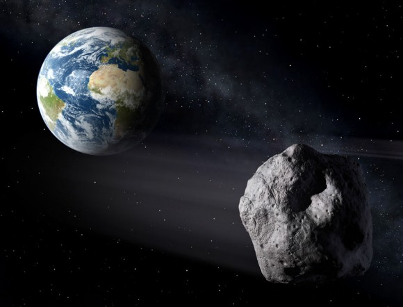 Artist view of an asteroid passing Earth. On January 26th, beefy 2004 BL86 passes within 750,000 miles of our planet and will become bright enough to see in small telescopes and large binoculars. Credit: ESA/P.Carril