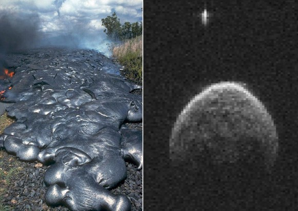 Toes of a pahoehoe flow advance across a road in Kalapana on the east rift zone of Kilauea Volcano, Hawaii and the binary asteroid 2004 BL86. Credit: U.S. Geological Survey (left) and NASA/JPL-Caltech