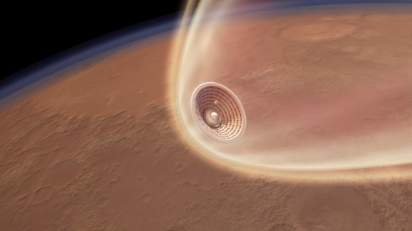 Artist's conception of the futuristic  Hypersonic Inflatable Aerodynamic Decelerator (HIAD) entering the atmosphere of Mars. Credit: NASA
