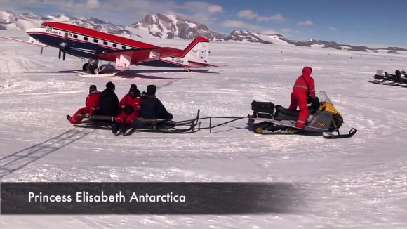 Research team members from Alfred Wegener Institute in Germany embark from a landing site at Princess Elisabeth, Antarctica. They discovered something totally unexpected - a large ringed formation on a nearby ice shelf.  (Credit: AWI)
