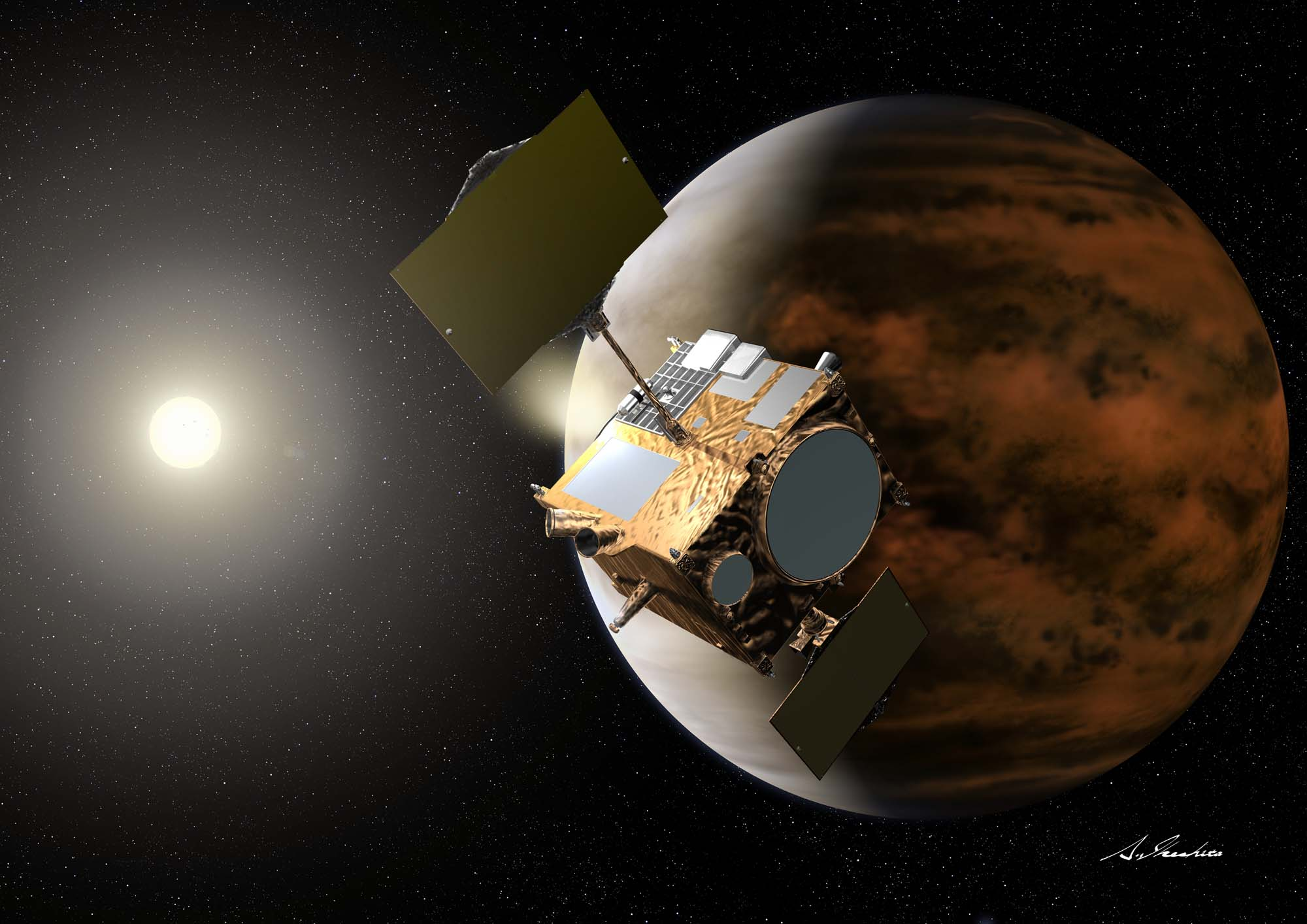"Artist's impression of the Venus Climate Orbiter (aka. ""Akatsuki"") by Akihiro Ikeshita. Image Credit: JAXA"