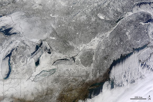 The northeastern US and southeastern Canada, as seen from space on January 13, 2015.  Image is from the Moderate Resolution Imaging Spectroradiometer (MODIS) on NASA's Terra satellite.   Credit: Jeff Schmaltz, LANCE/EOSDIS Rapid Response.