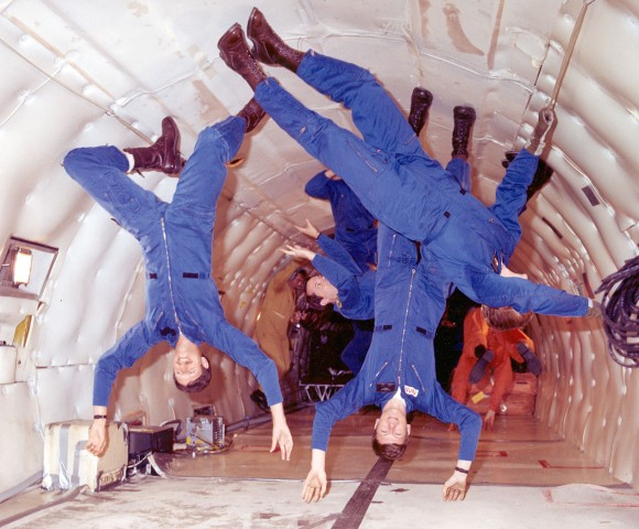The only people who'll be floating above the floor on January 4th are the astronauts on board the International Space Station. This photo shows onboard the NASA KC-135 that uses a special parabolic pattern to create brief periods of microgravity