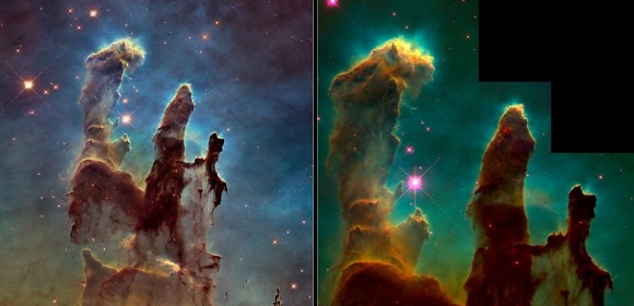 The Eagle Nebula's pillars of creation taken in 1995 (right) and 2014. The new image was obtained with the Wide Field Camera 3, installed by astronauts in 2009. Credit: Left: NASA, ESA/Hubble and the Hubble Heritage Team. Right:  NASA, ESA/Hubble, STScI, J. Hester and P. Scowen (Arizona State University)