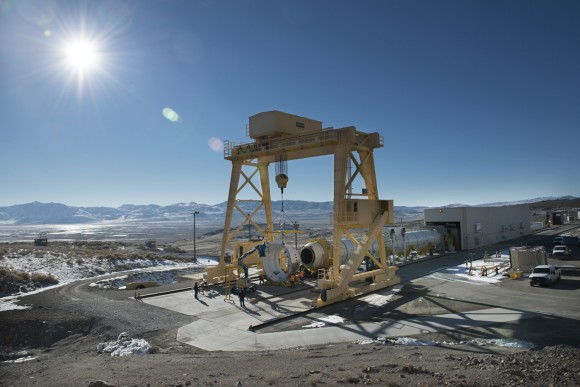The first qualification motor for NASA's Space Launch System's booster is installed in ATK's test stand in Utah and is ready for a March 11 static-fire test.   Credit:  ATK