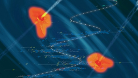 An artist's conception of a black hole binary in a heart of a quasar, with the data showing the periodic variability superposed. Credit: Santiago Lombeyda/Caltech Center for Data-Driven Discovery