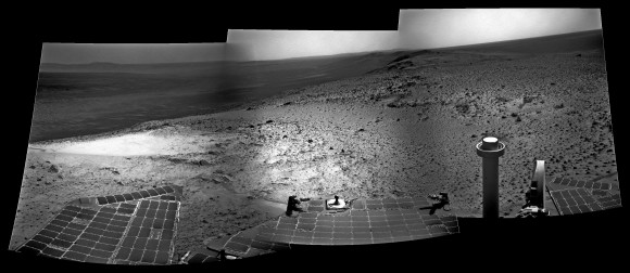 Panorama of the Opportunity rover's view near the summit of Cape Tribulation on Mars in January 2015. Credit: NASA/JPL-Caltech/Stu Atkinson