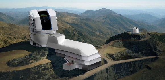 Artist rendering of the LSST observatory (foreground) atop Cerro Pachón in Chile. Credit: Large Synoptic Survey Telescope Project Office.