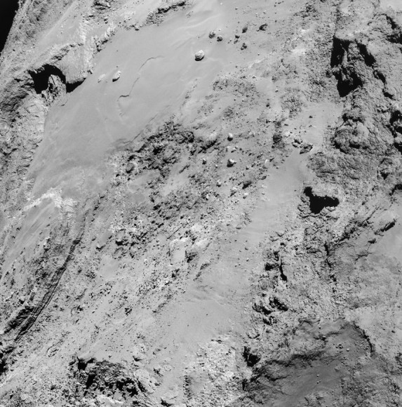 The surface of 67P/C-G imaged by Rosetta on Feb. 14, 2015 from about 8.9 km  (ESA/Rosetta/NavCam – CC BY-SA IGO 3.0)