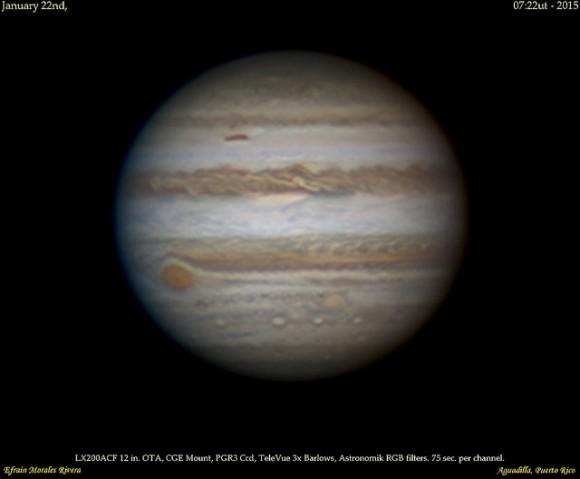 Jupiter +Great Red Spot as seen on January 22nd 2015. Credit: