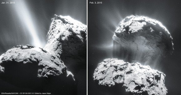 Jet activity on Comet 67P/C-G imaged on Jan. 31 and Feb. 3, 2015. Credits: ESA/Rosetta/NAVCAM – CC BY-SA IGO 3.0. Edit by Jason Major.