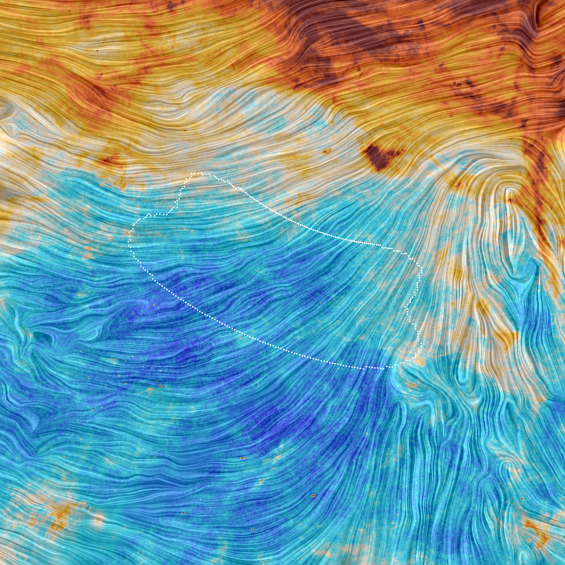 Planck view of BICEP2 field. Credit: ESA/Planck Collaboration. Acknowledgment: M.-A. Miville-Deschênes, CNRS – Institut d'Astrophysique Spatiale, Université Paris-XI, Orsay, France.