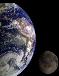 Earth and Moon, seen from Galileo
