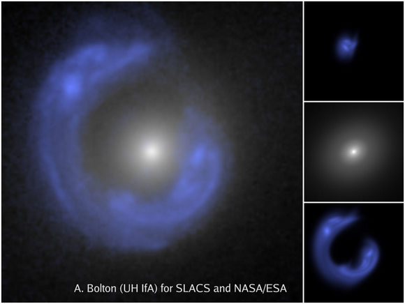 Hubble Space Telescope image shows Einstein ring of one of the SLACS gravitational lenses, with the lensed background galaxy enhanced in blue. A. Bolton (UH/IfA) for SLACS and NASA/ESA.