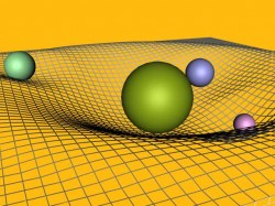 The curvature of space due to gravity.