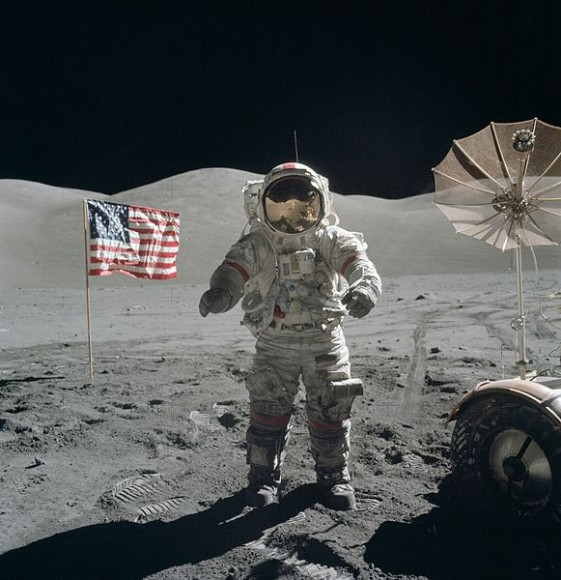 Eugene Cernan on the lunar surface, December 13, 1972. Credit: NASA.