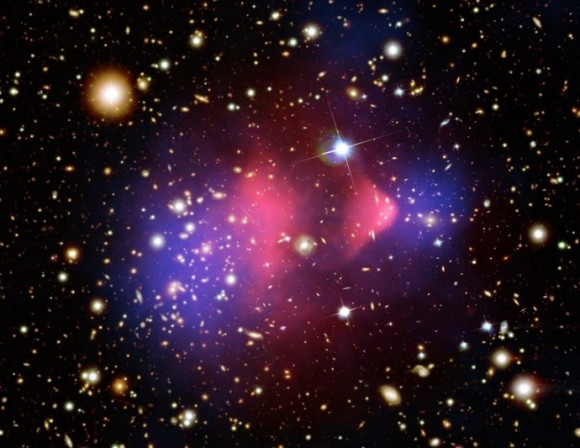 Dark matter in the Bullet Cluster.  Otherwise invisible to telescopic views, the dark matter was mapped by observations of gravitational lensing of background galaxies. Credit: X-ray: NASA/CXC/CfA/ M.Markevitch et al.; Lensing Map: NASA/STScI; ESO WFI; Magellan/U.Arizona/ D.Clowe et al. Optical: NASA/STScI; Magellan/U.Arizona/D.Clowe et al.;