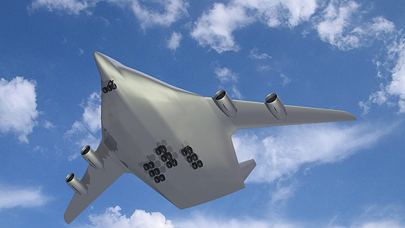 Artist concept of a futuristic 'flying wing' airplane. Credit: DLR