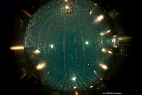 View from inside the Borexino neutrino detector. Image Credit: Borexino Collaboration