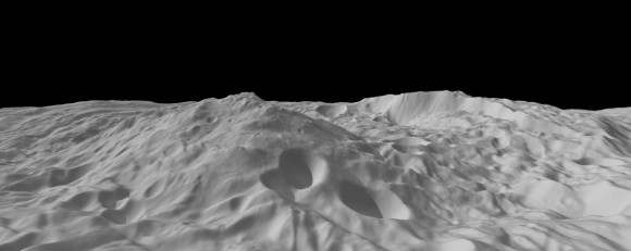 Image of asteroid Vesta calculated from a shape model, showing a tilted view of the topography of the south polar region. This perspective shows the topography, but removes the overall curvature of Vesta, as if the giant asteroid were flat and not rounded. Credit: NASA