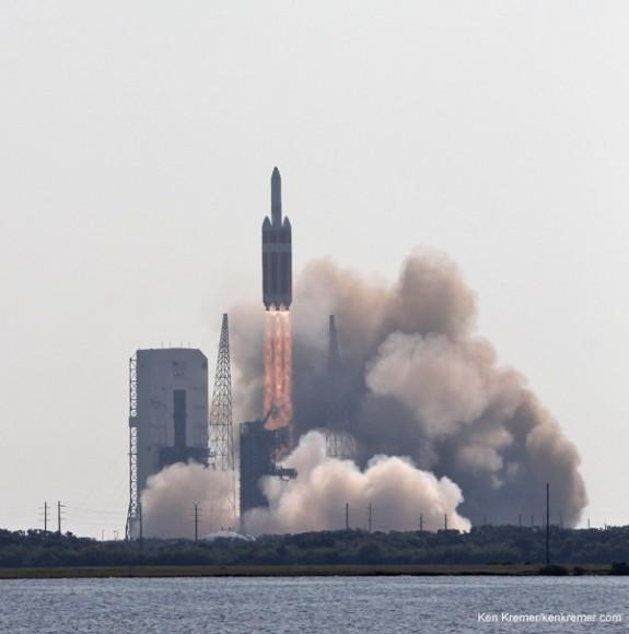 Delta 4 Heavy rocket and super secret US spy satellite roar off Pad 37 on June 29, 2012 from Cape Canaveral, Florida. NASA's Orion EFT-1 capsule will blastoff atop a similar Delta 4 Heavy Booster in December 2014. Credit: Ken Kremer- kenkremer.com