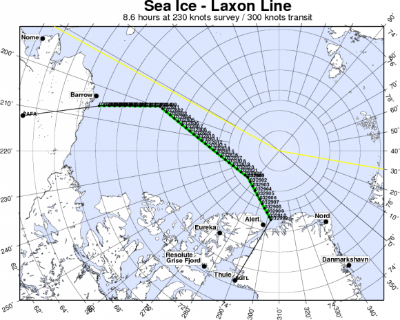 IceBridge departing to Fairbanks to start their sea ice flights that will cover the Beauford and Chukchi seas - via the Laxon sea ice route for the transit. Credit: NASA